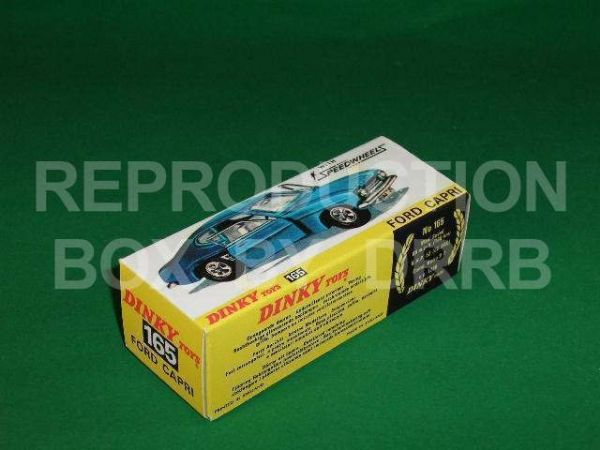 Dinky #165 Ford Capri - Reproduction Box (  Turquoise finish )